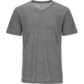 super.natural M's 140 Base V Neck Tee Quiet Shade Melange